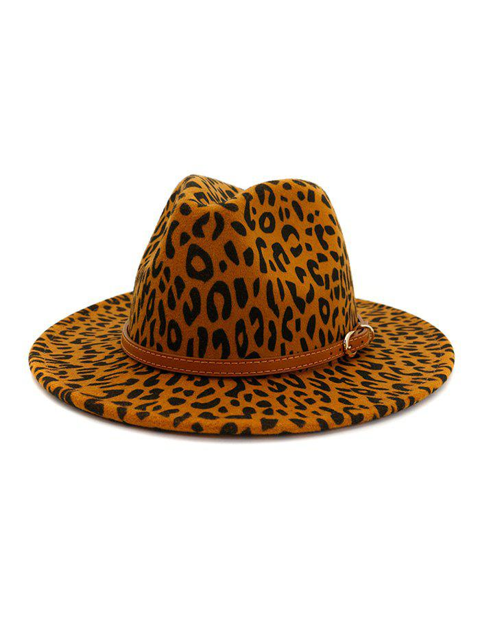 Latest Vintage Leopard Belt Embellished Jazz Hat