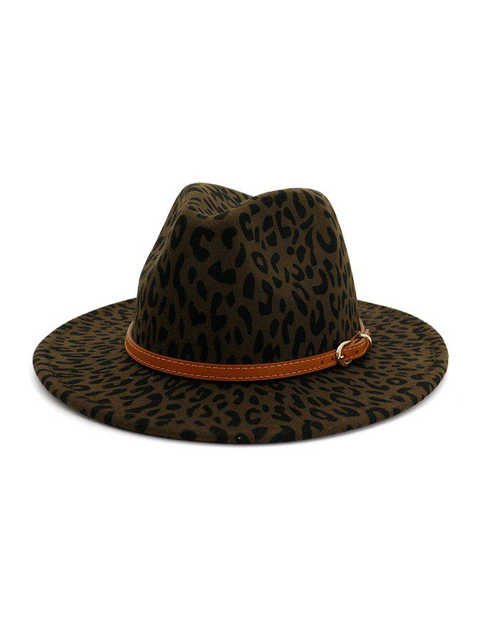Chic Vintage Leopard Belt Embellished Jazz Hat