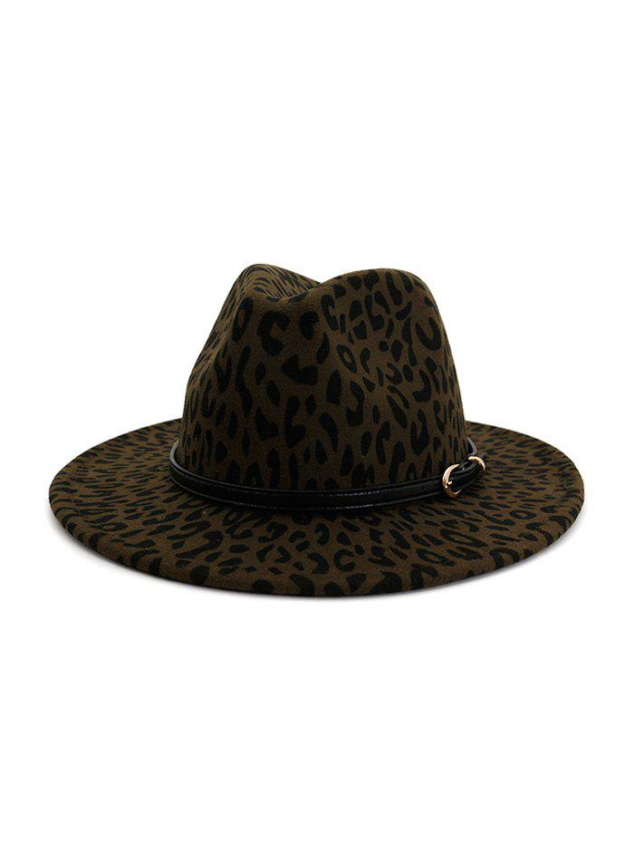 Shop Leopard Belt Embellished Jazz Hat