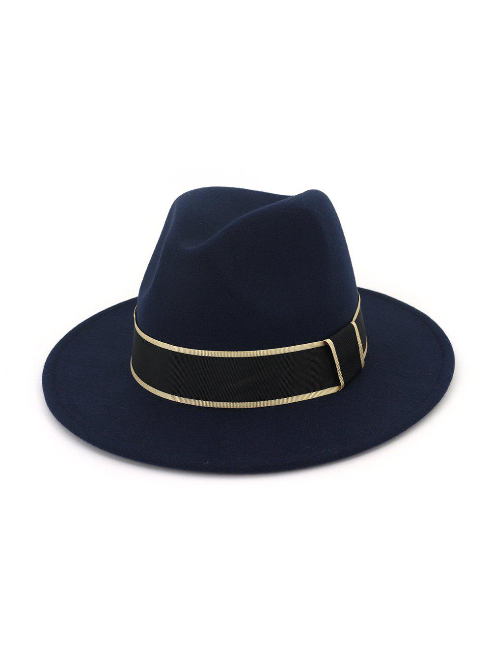 Chic Ribbon Decorated Woolen Floppy Jazz Hat
