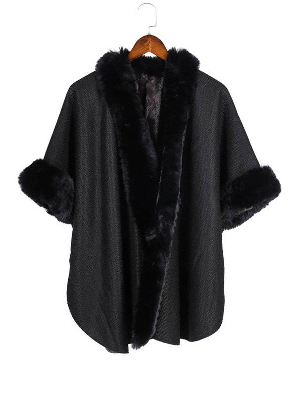 Hot Open Front Faux Fur Poncho Cape