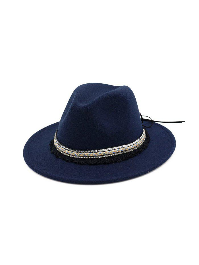 Fashion Ethnic Tassel Flat Brim Jazz Hat