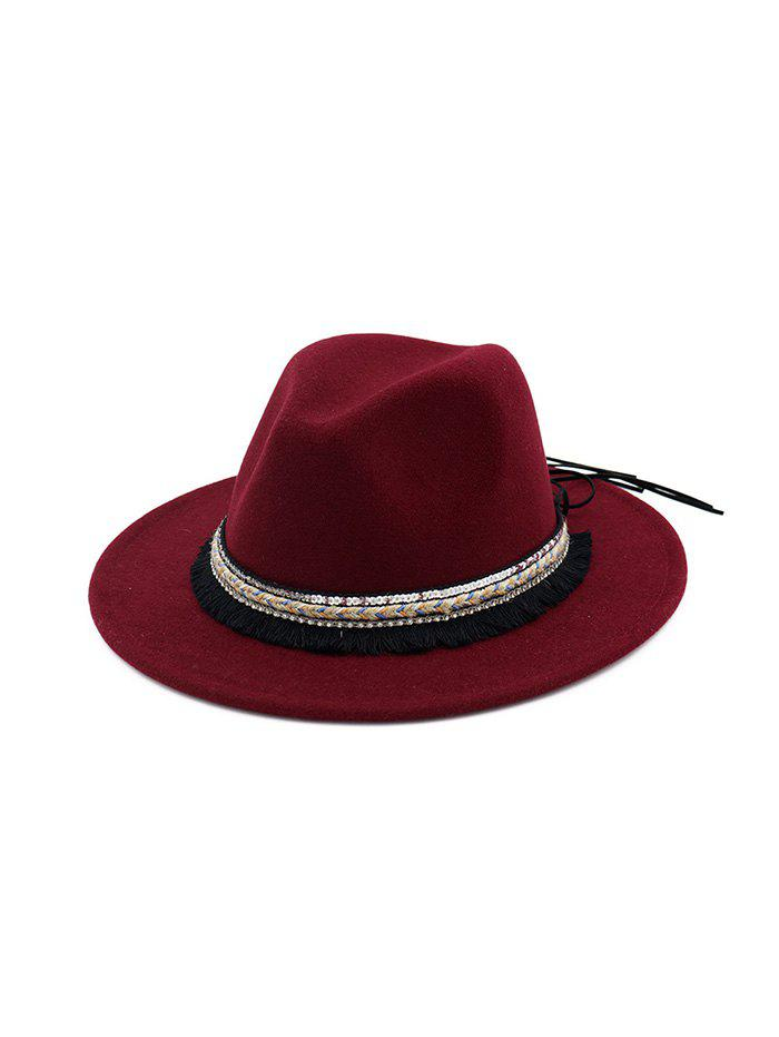 Shops Ethnic Tassel Flat Brim Jazz Hat
