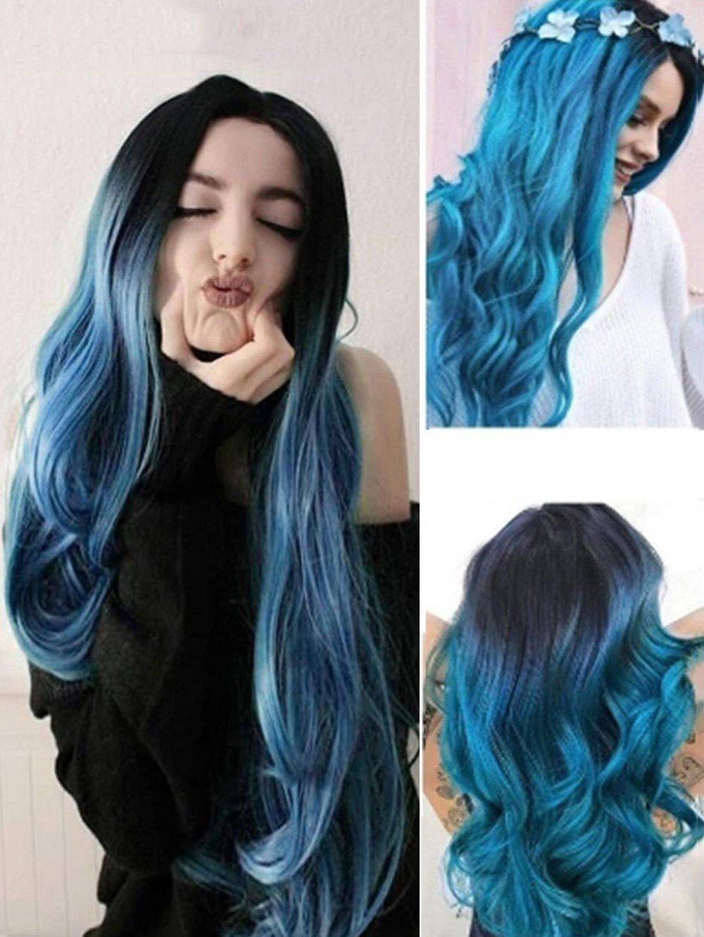 Hot Ombre Long Wavy Synthetic Center Part Wig