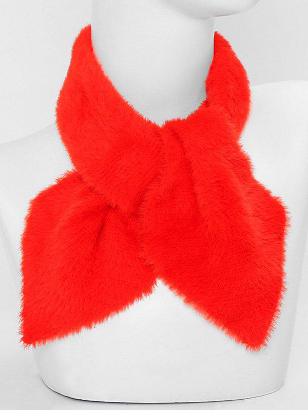Fashion Faux Fur Winter Heart Shape Cross Scarf