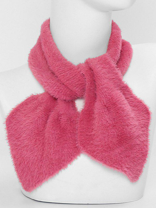 Cheap Faux Fur Winter Heart Shape Cross Scarf