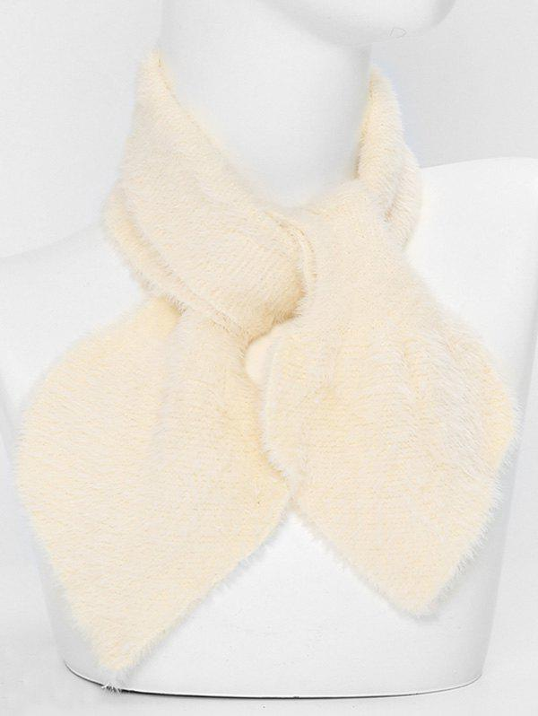 Discount Faux Fur Winter Heart Shape Cross Scarf
