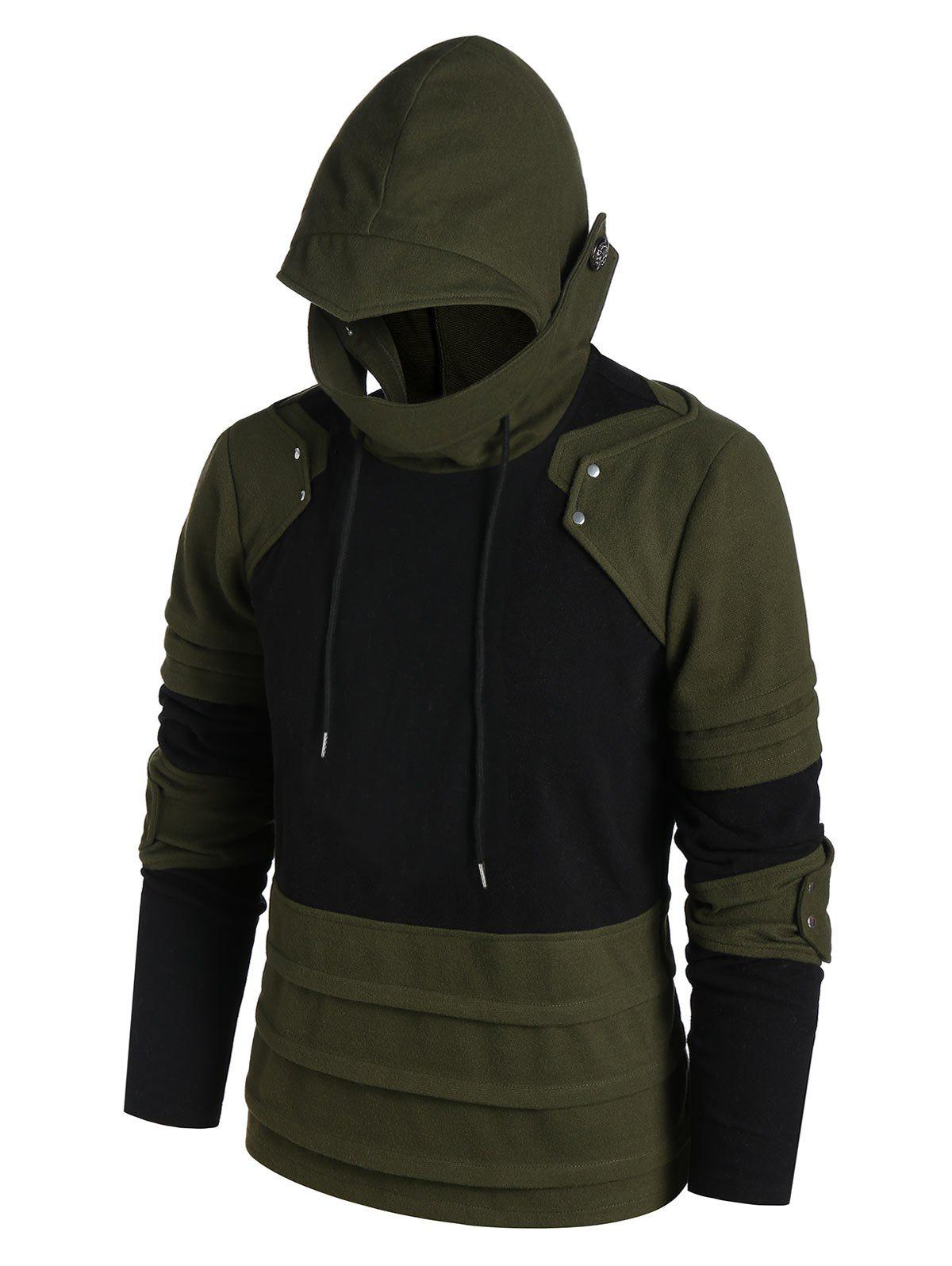 New Drawstring Button Embellished Contrast Mask Hoodie
