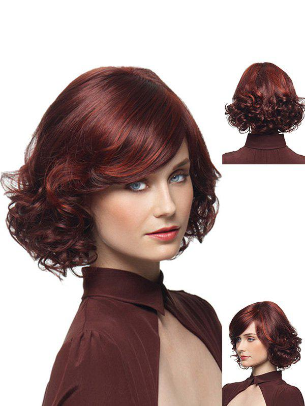 Hot Medium Wavy Bob Synthetic Side Bang Wig