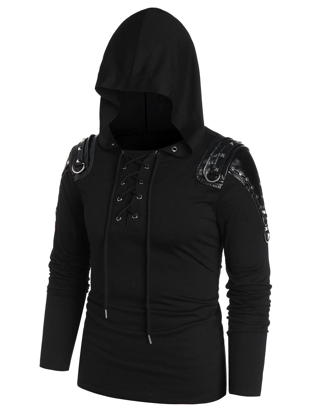 Unique Rivet Embellished Faux Leather Insert Lace-up Front Hoodie