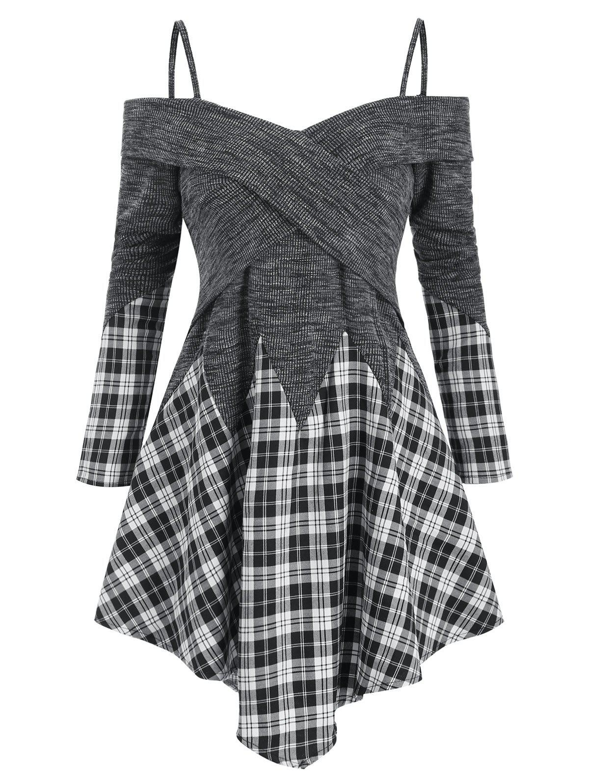 New Plaid Panel Cold Shoulder Asymmetric Cami Top