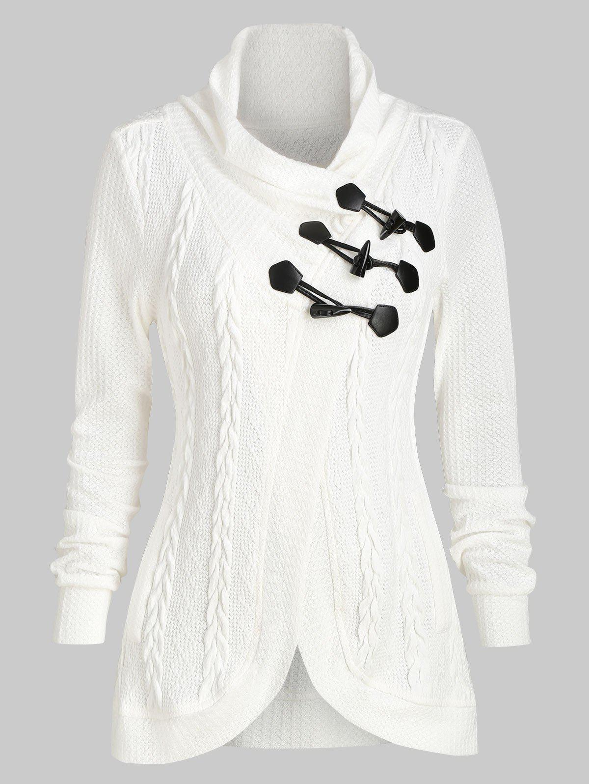 Outfits Casual Claw Button Cowl Neck Cardigan