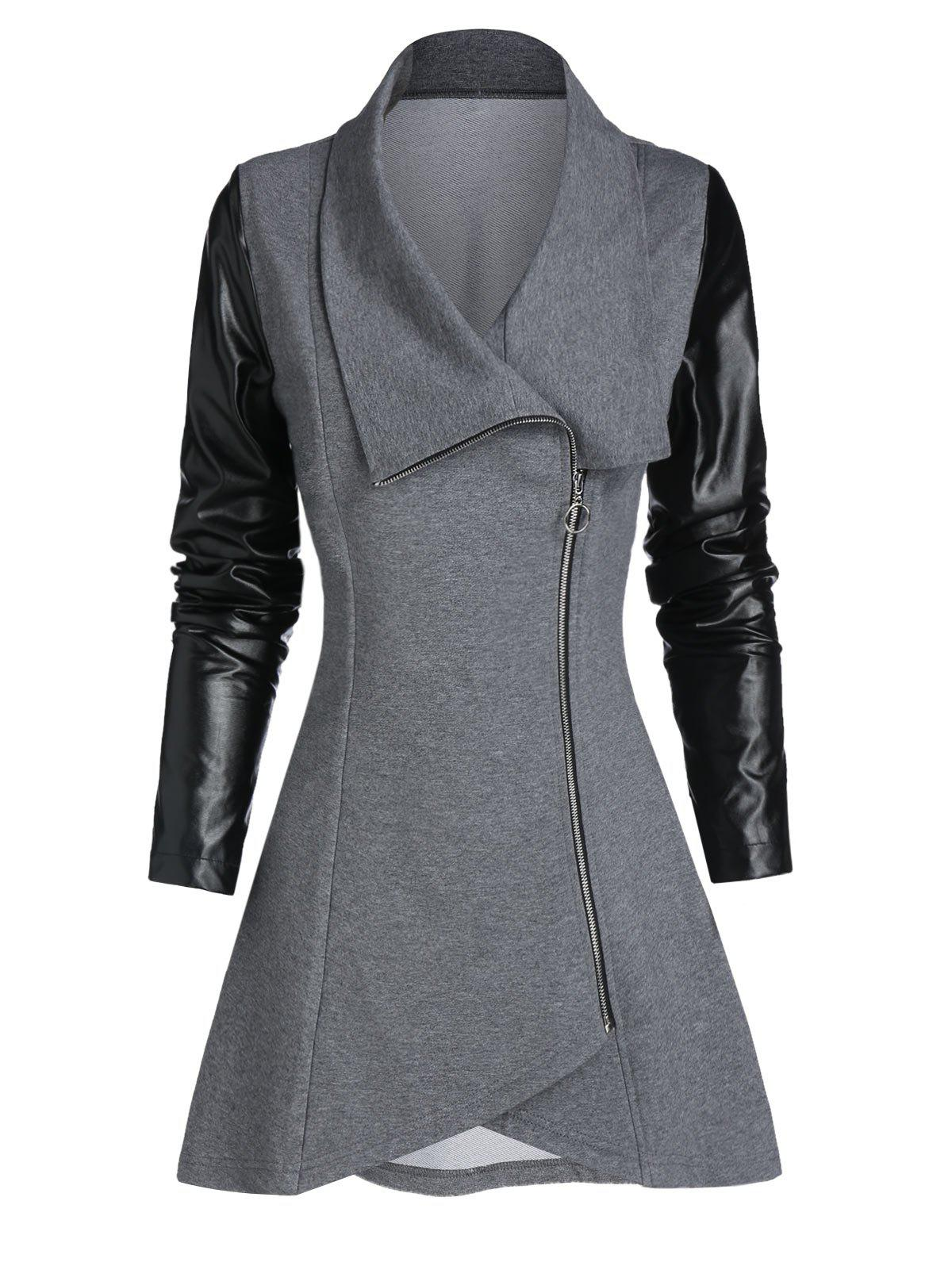 New Faux Leather Sleeve Zip Up Asymmetric Coat