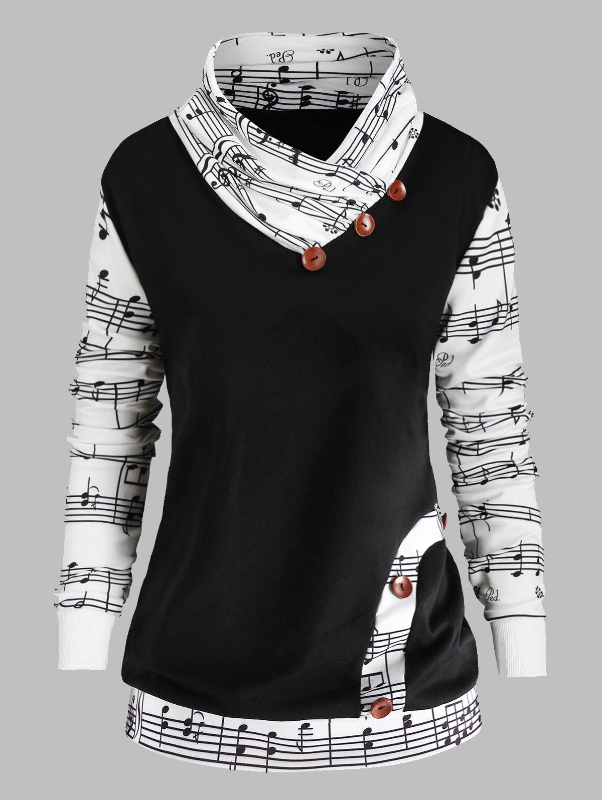 Store Music Note Print Plus Size Bowknot Embellished Sweatshirt