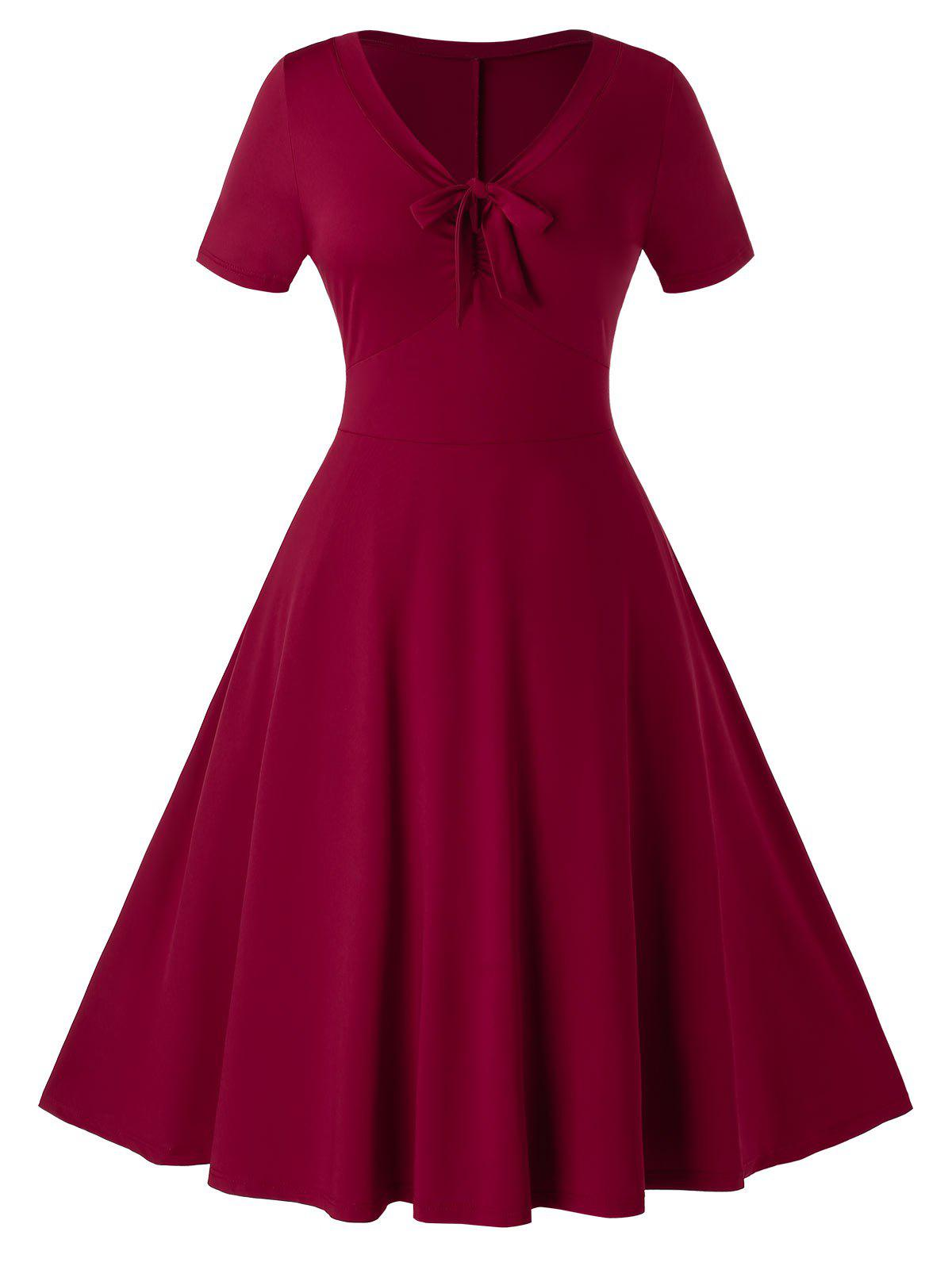 Store Plus Size Knotted A Line Vintage Knee Length Dress