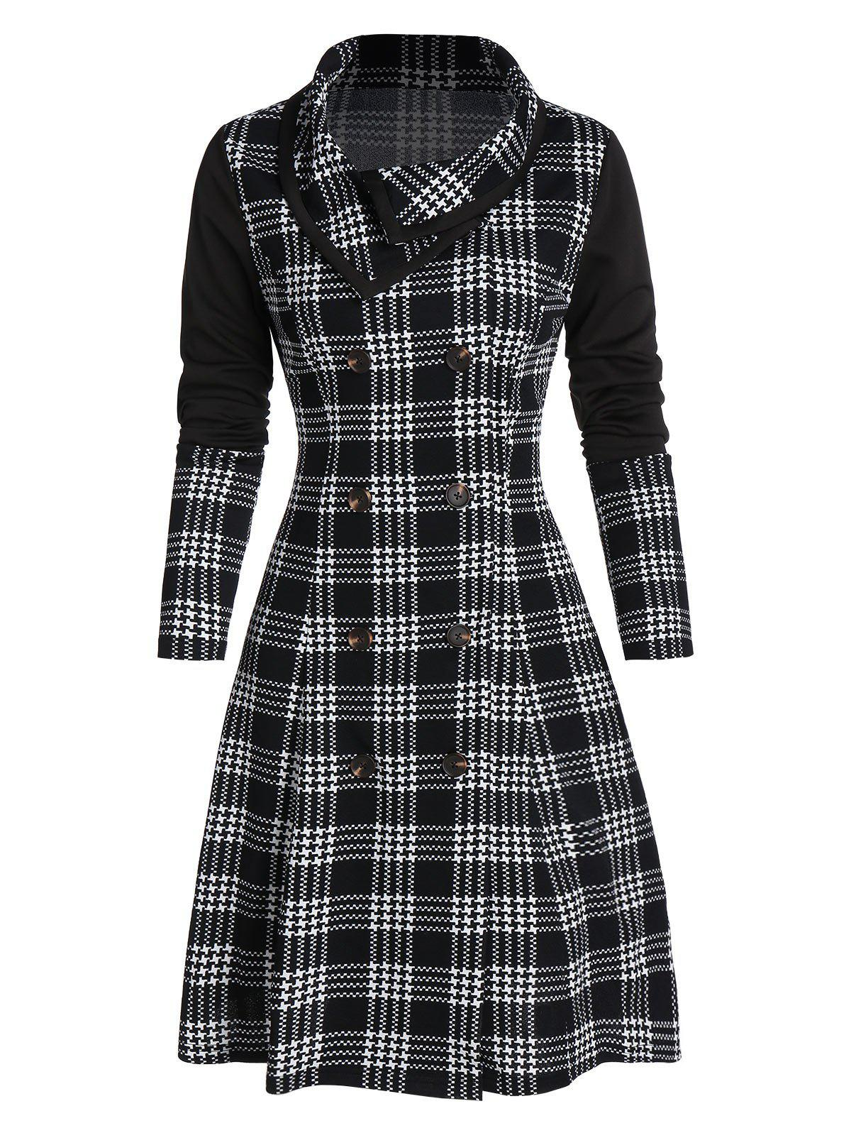 Chic Double Breasted Houndstooth Plaid Print Skirted Coat