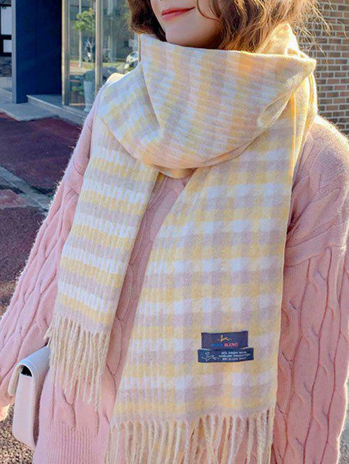 Outfits Checked Pattern Tassel Warm Scarf