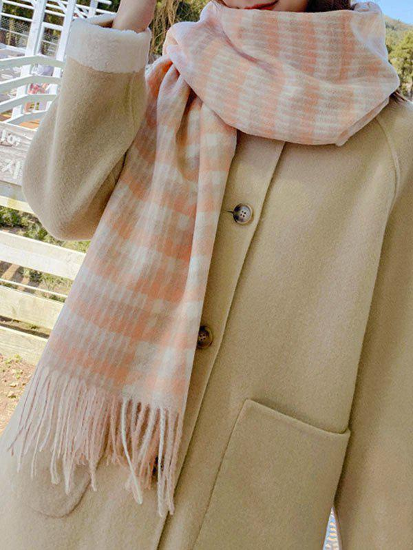 Outfit Checked Pattern Tassel Warm Scarf