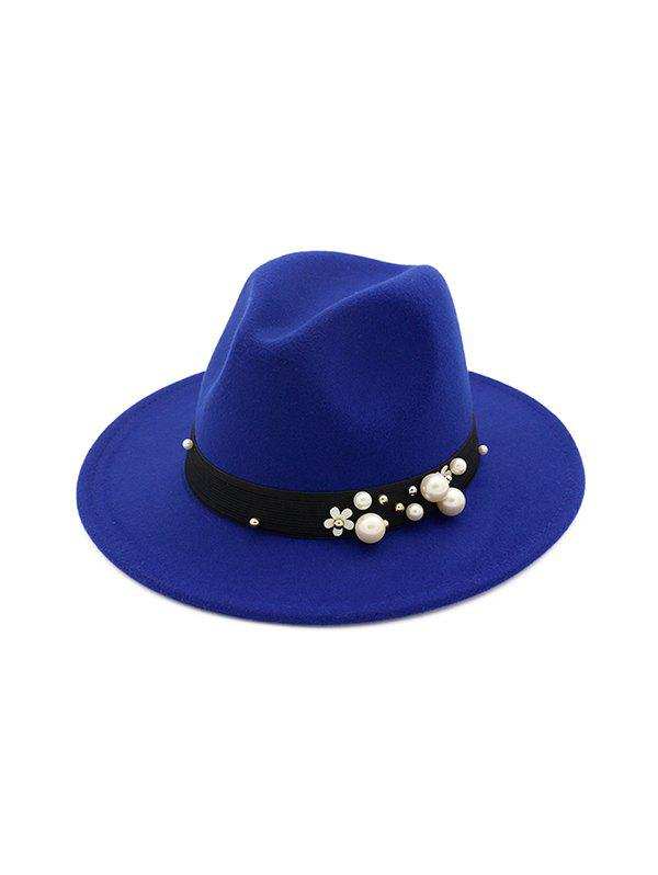 Affordable Pearl Flower Woolen Fedoras Jazz Hat