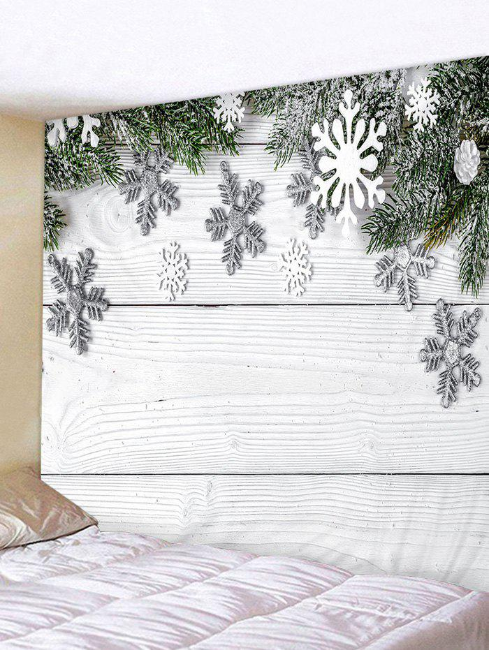 Discount Christmas Snowflake Wood Grain Print Tapestry Wall Hanging Art Decoration