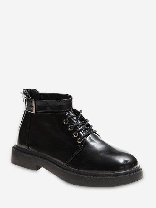 Buy Buckle Strap Round Toe Short Boots
