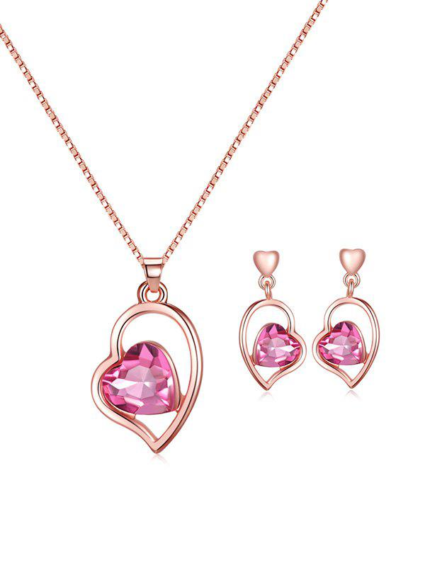 Hot Artificial Gem Heart Necklace with Earrings