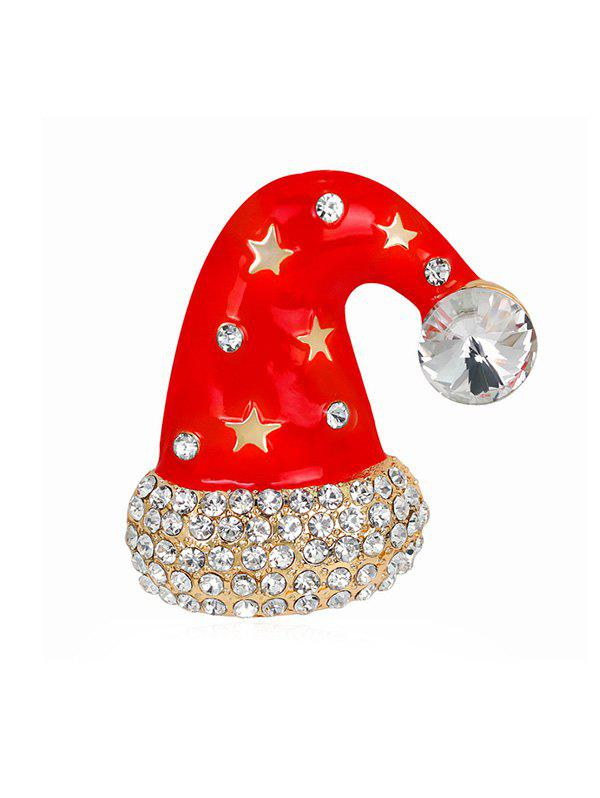 Fancy Christmas Hat Star Rhinestone Brooch