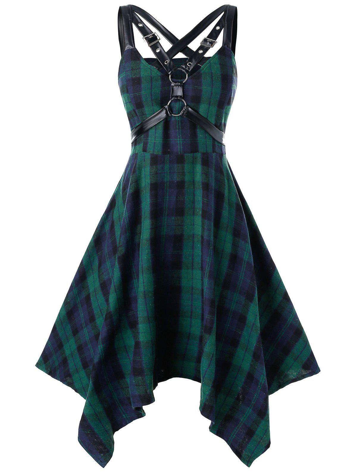 Outfits Plus Size Handkerchief Plaid Harness Gothic Dress