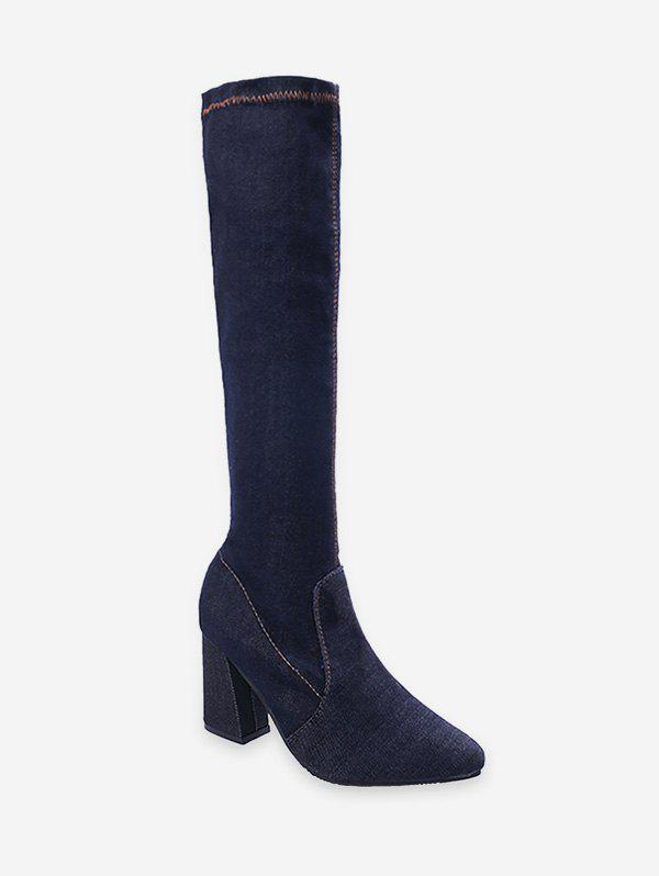 Shop Fit Slim High Heel Denim Knee High Boots