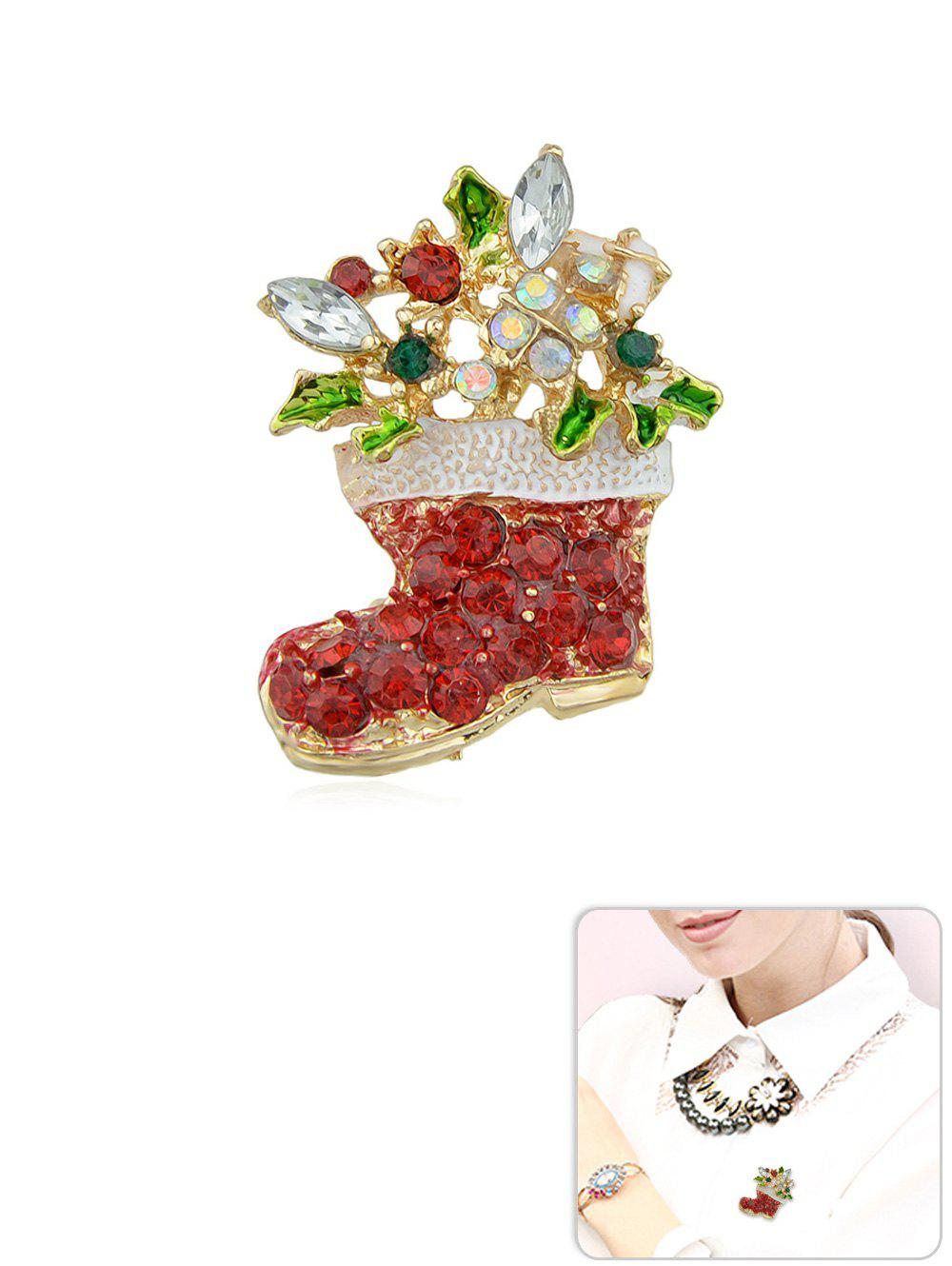 Discount Christmas Rhinestone Boot Shape Brooch