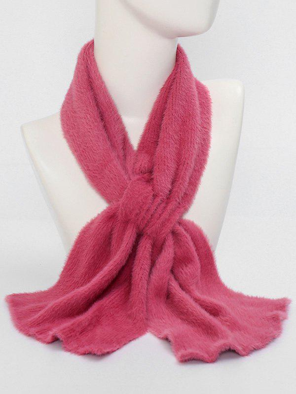 Fancy Winter Criss Cross Faux Plush Scarf