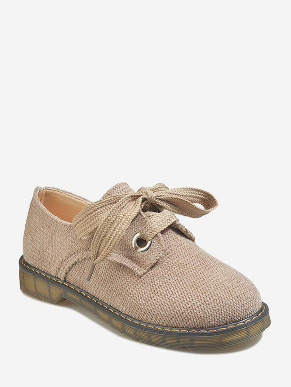 Trendy Flat Heel Lace-up Linen Cloth Casual Shoes