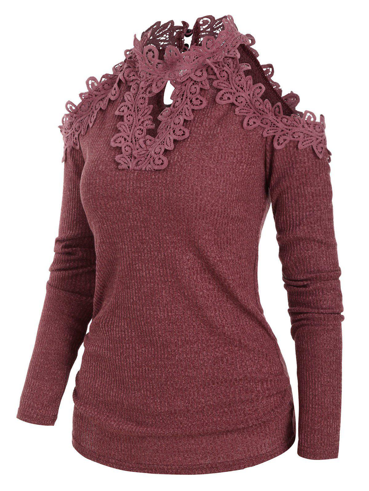 Cheap Open Shoulder Guipure Lace Keyhole Knitwear