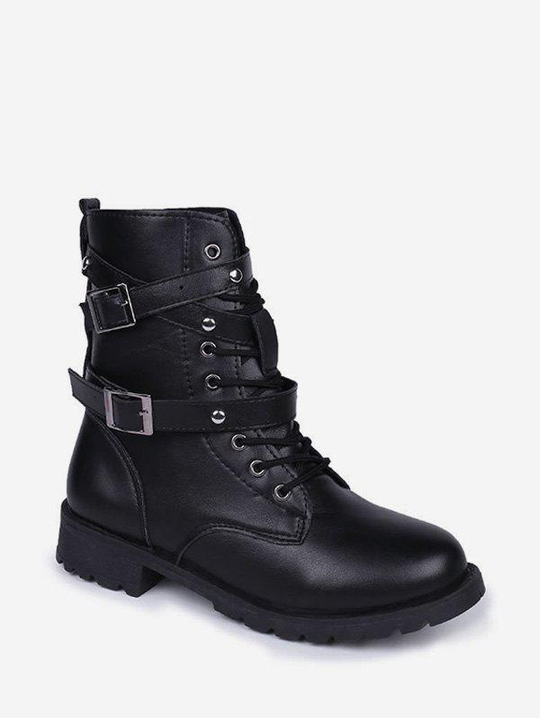 Fashion Dual Buckle Lace Up Combat Short Boots