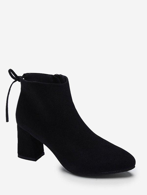 Latest Tie Back Mid Heel Pointed Toe Ankle Boots
