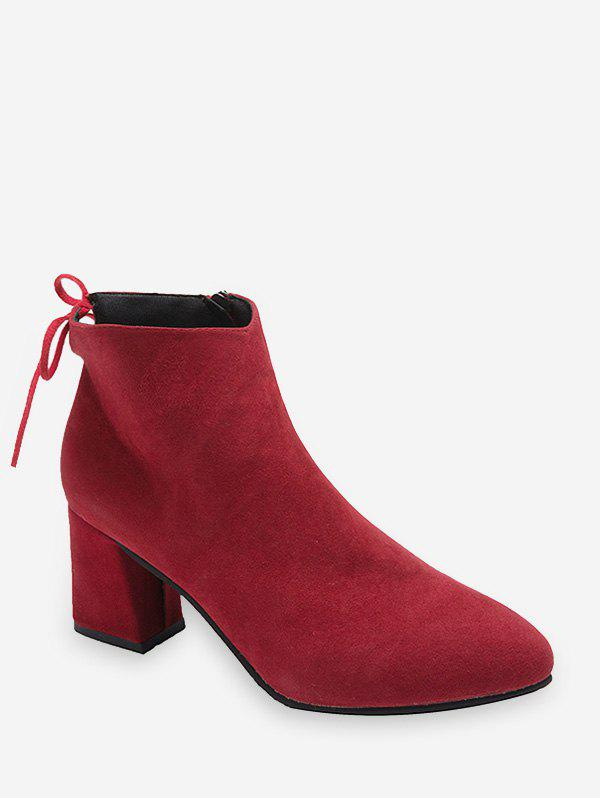 Hot Tie Back Mid Heel Pointed Toe Ankle Boots