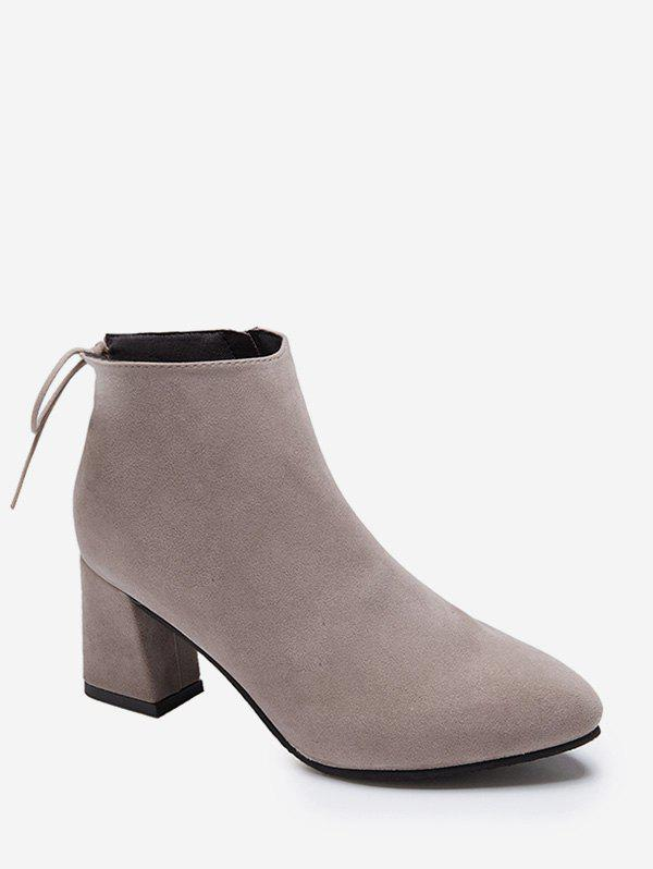 Fashion Tie Back Mid Heel Pointed Toe Ankle Boots