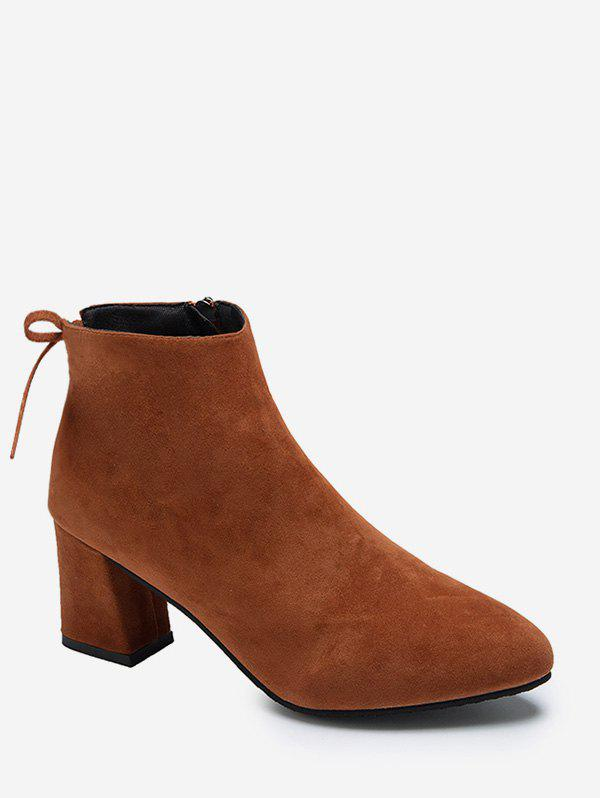 Trendy Tie Back Mid Heel Pointed Toe Ankle Boots