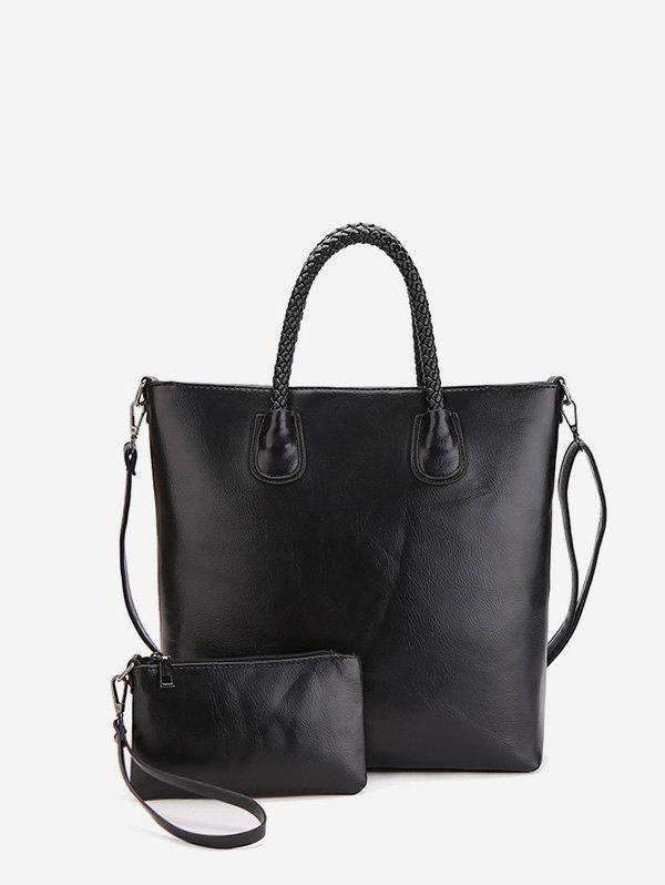 Outfit 2Pcs Simple Leather Tote Bag Set
