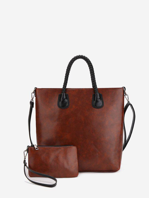 Online 2Pcs Simple Leather Tote Bag Set