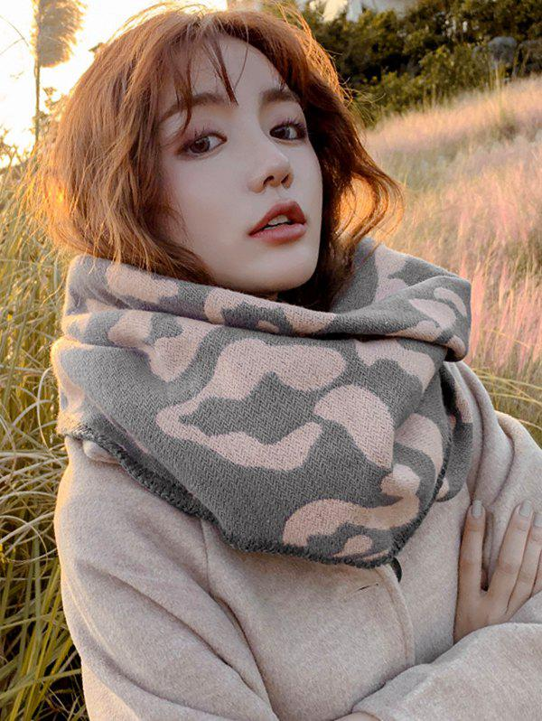 Trendy Leopard Print Faux Cashmere Rhombus Knitted Scarf