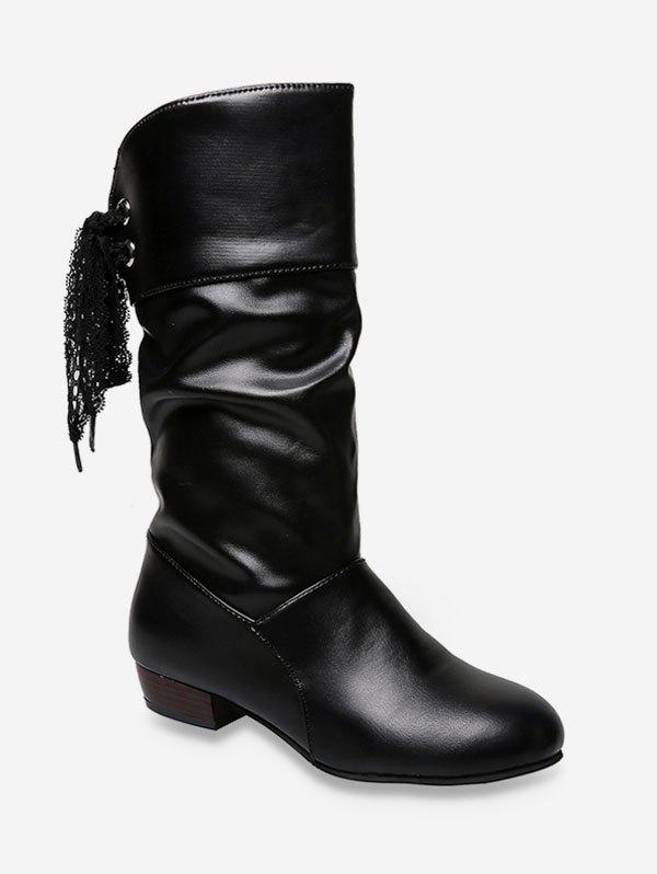 Cheap Tie Back PU Leather Mid Calf Boots