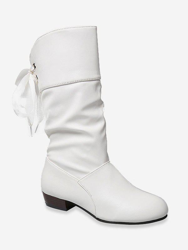 Best Tie Back PU Leather Mid Calf Boots