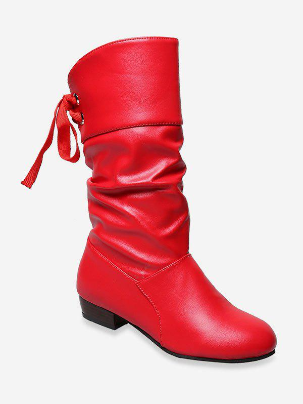 Outfit Tie Back PU Leather Mid Calf Boots