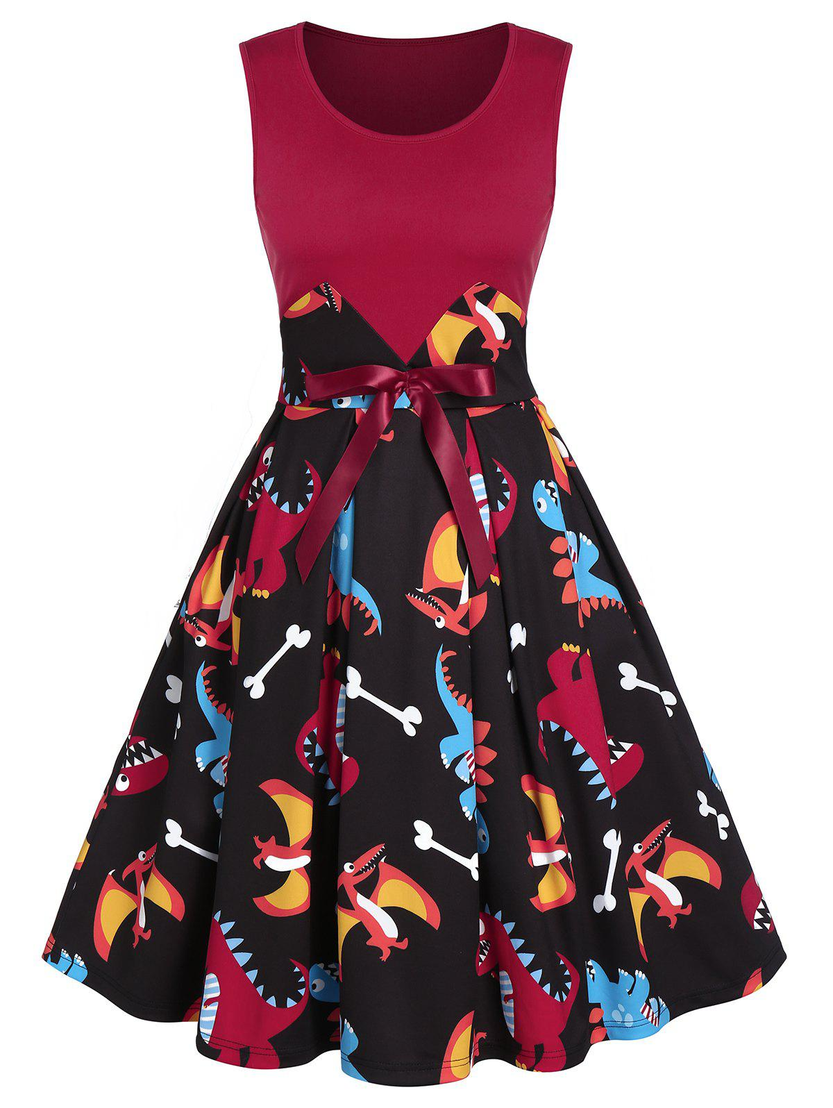 Latest Dinosaur Printed Bowknot Patchwork A Line Dress