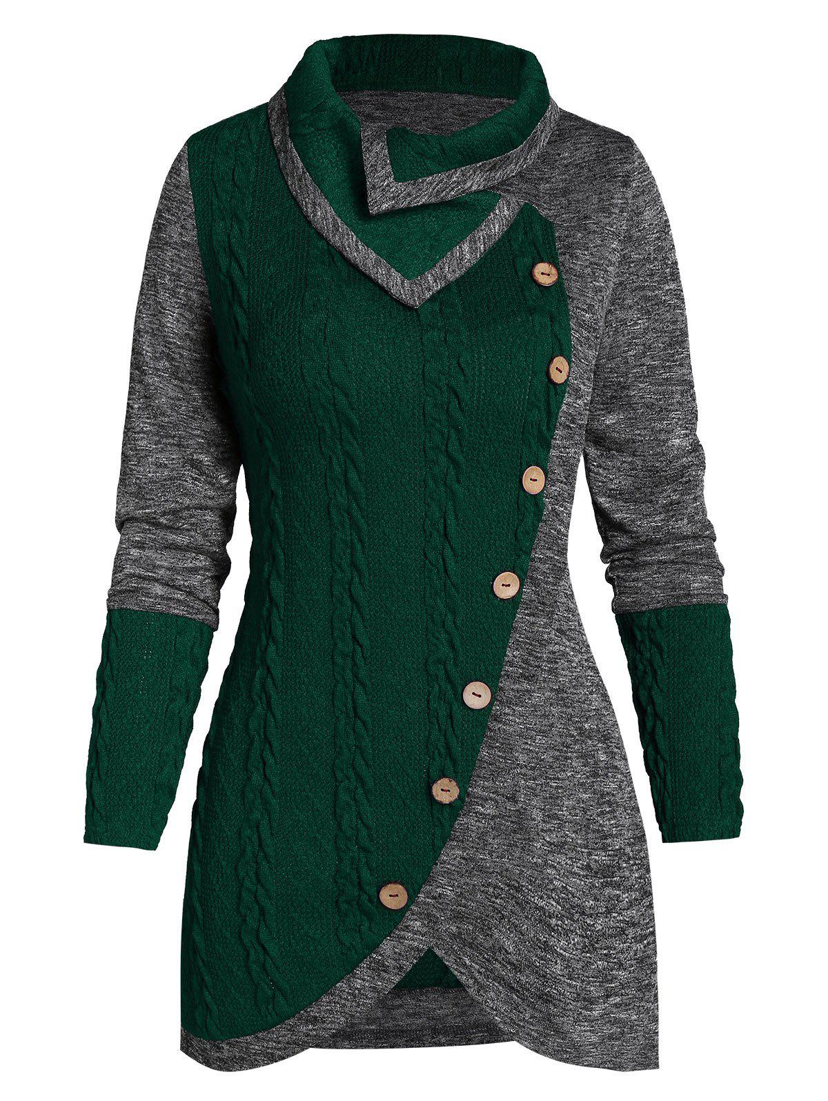 Shop Turn-down Collar Contrast Tunic Sweater