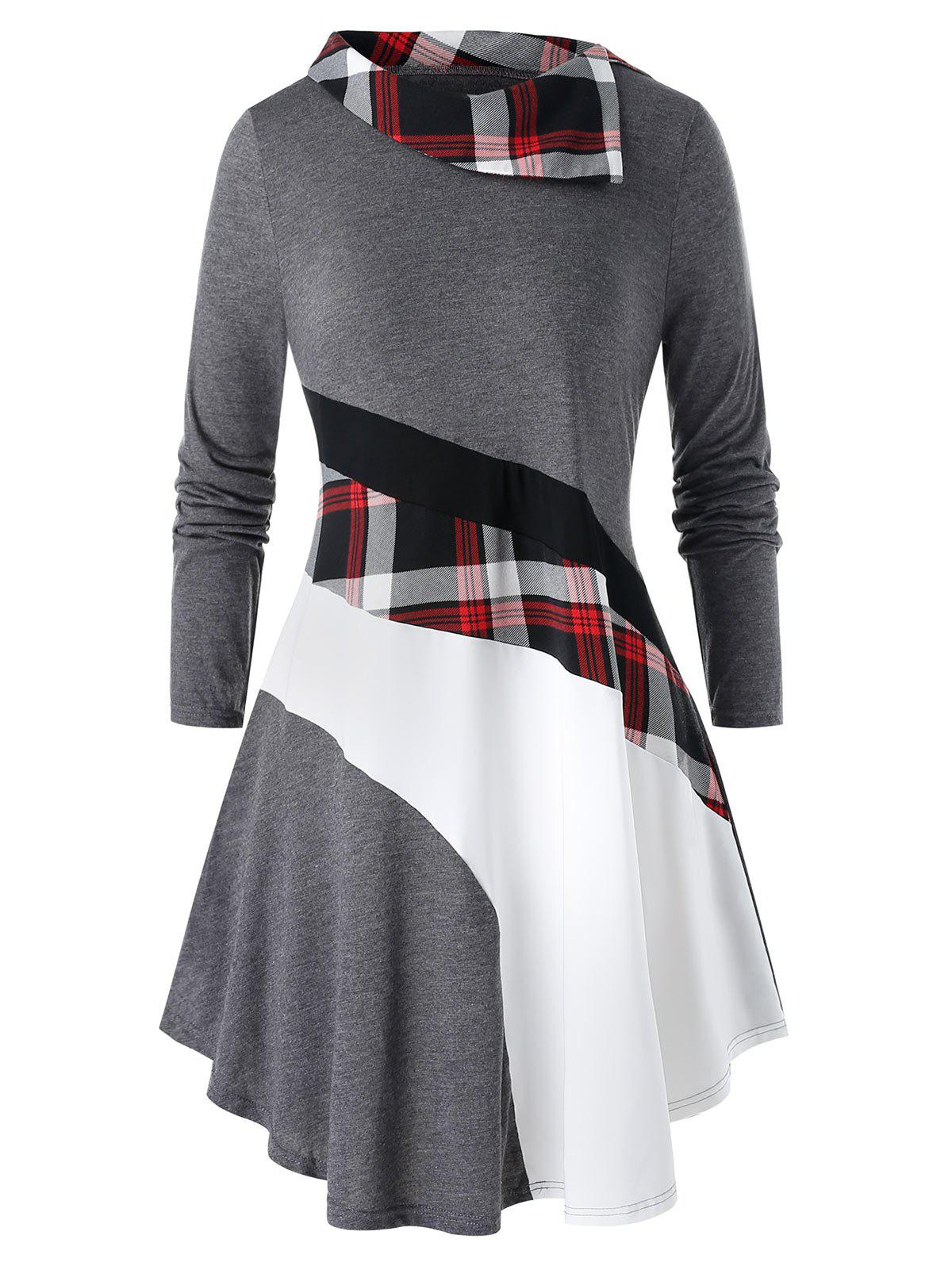 Trendy Plus Size Color-blocking Plaid Long Sleeve Tunic Tee
