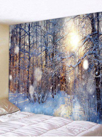 Sunlit Snow Forest Print Tapestry Wall Hanging Art Decoration - MULTI - W79 X L59 INCH