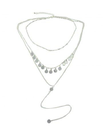 Layered Disc Tassel Long Chain Necklace