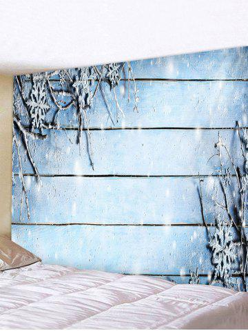 Christmas Snowflake Wood Grain Printed Tapestry Wall Hanging Art Decoration